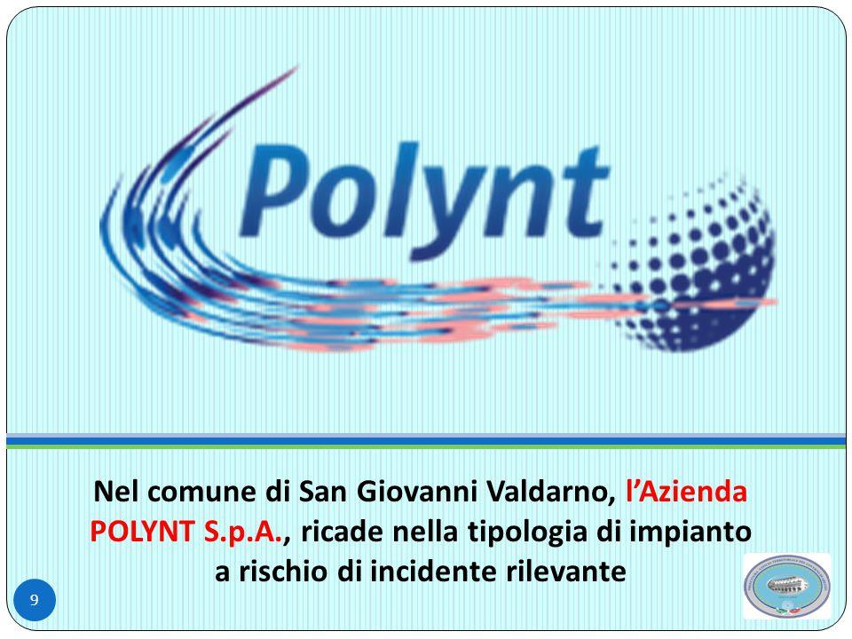 Nel comune di San Giovanni Valdarno, l'Azienda POLYNT S.p.A., ricade nella tipologia di impianto a rischio di incidente rilevante 9