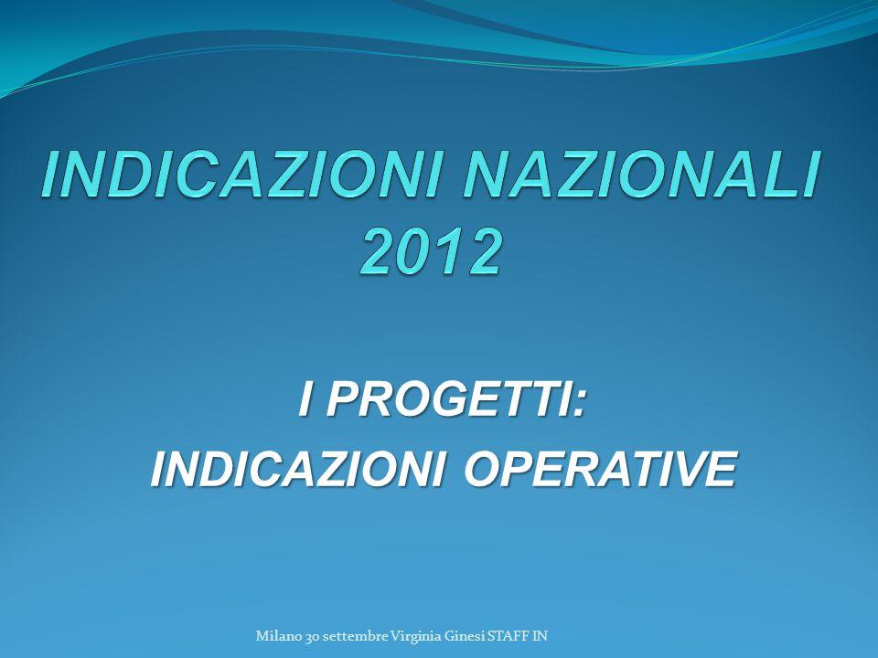 I PROGETTI: INDICAZIONI OPERATIVE Milano 30 settembre Virginia Ginesi STAFF IN