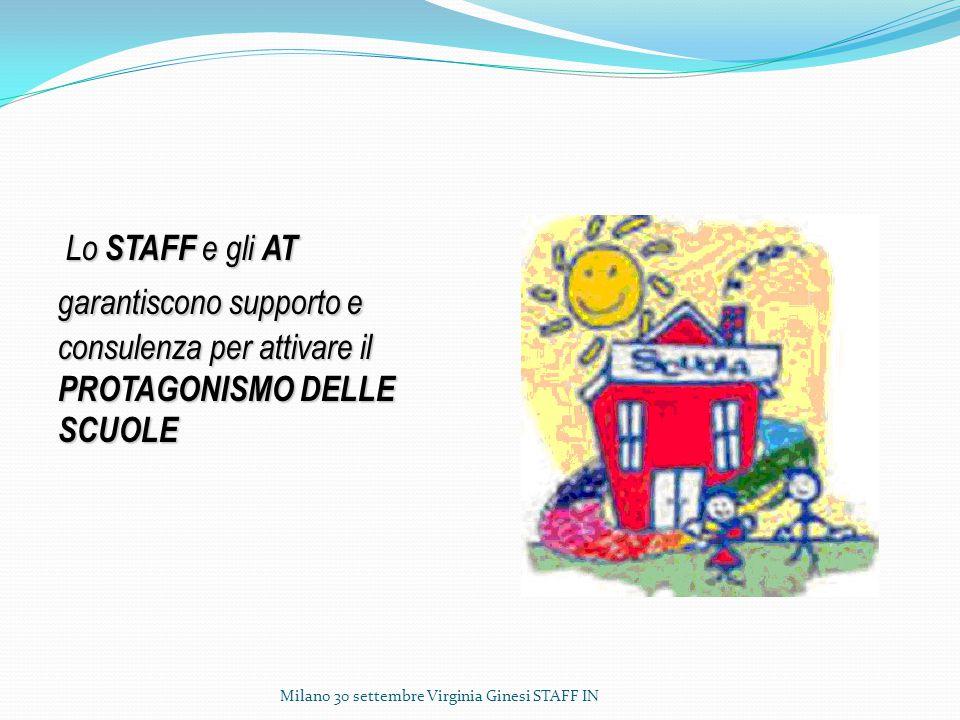 Lo STAFF e gli AT garantiscono supporto e consulenza per attivare il PROTAGONISMO DELLE SCUOLE Milano 30 settembre Virginia Ginesi STAFF IN
