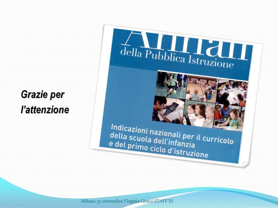 Grazie per l'attenzione Milano 30 settembre Virginia Ginesi STAFF IN