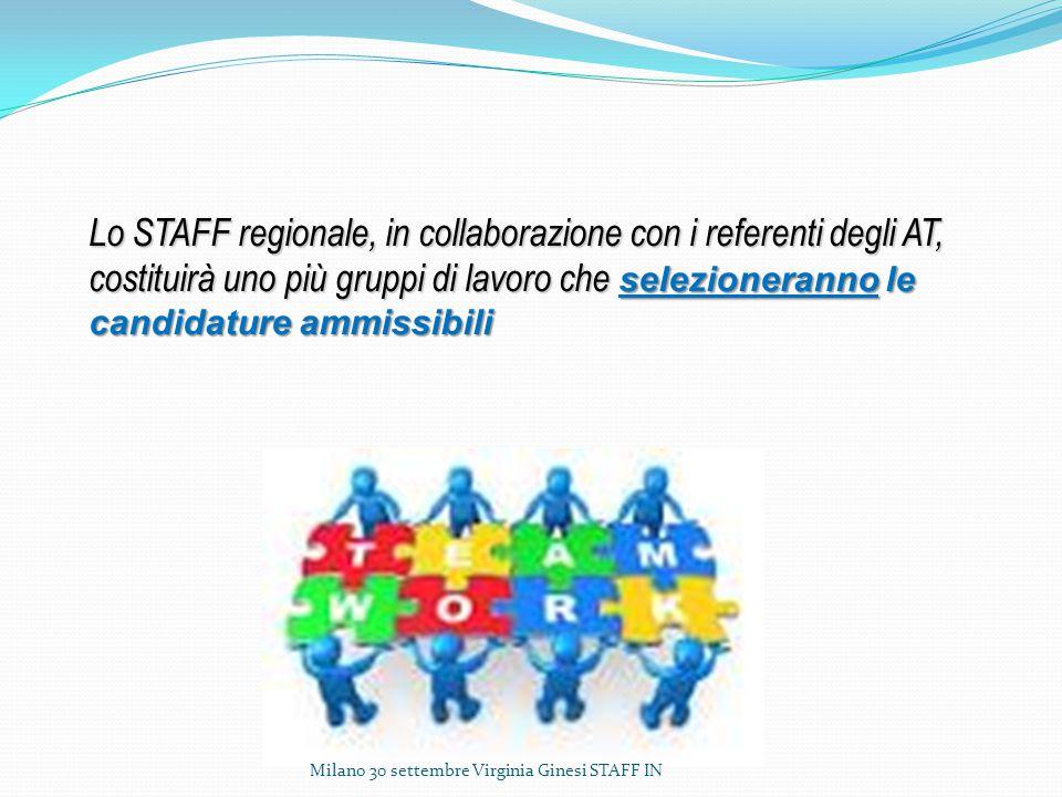 Lo STAFF regionale, in collaborazione con i referenti degli AT, costituirà uno più gruppi di lavoro che selezioneranno le candidature ammissibili Milano 30 settembre Virginia Ginesi STAFF IN