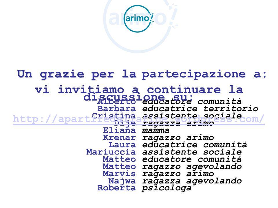 Un grazie per la Alberto Barbara Cristina Dije Eliana Krenar Laura Mariuccia Matteo Marvis Najwa Roberta partecipazione a: educatore comunità educatri