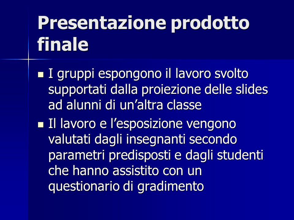 Presentazione prodotto finale I gruppi espongono il lavoro svolto supportati dalla proiezione delle slides ad alunni di un'altra classe I gruppi espon