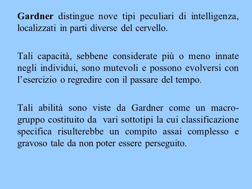 Gardner distingue nove tipi peculiari di intelligenza, localizzati in parti diverse del cervello. Tali capacità, sebbene considerate più o meno innate