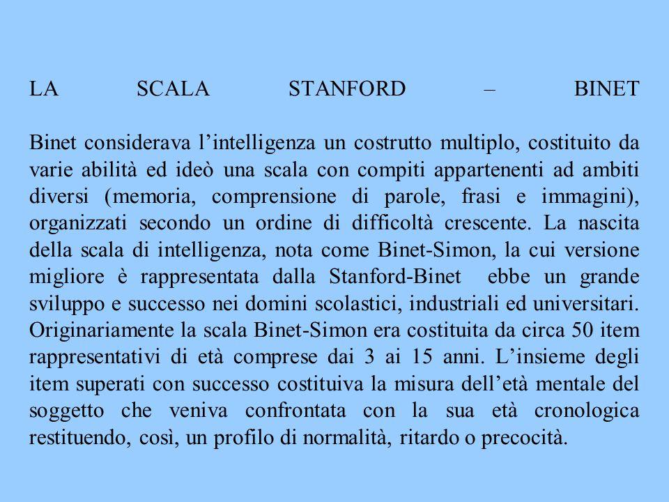 LA SCALA STANFORD – BINET Binet considerava l'intelligenza un costrutto multiplo, costituito da varie abilità ed ideò una scala con compiti appartenen