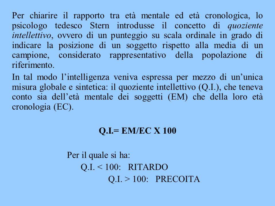 Per chiarire il rapporto tra età mentale ed età cronologica, lo psicologo tedesco Stern introdusse il concetto di quoziente intellettivo, ovvero di un