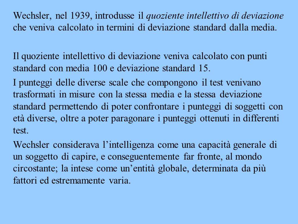 Wechsler, nel 1939, introdusse il quoziente intellettivo di deviazione che veniva calcolato in termini di deviazione standard dalla media. Il quozient