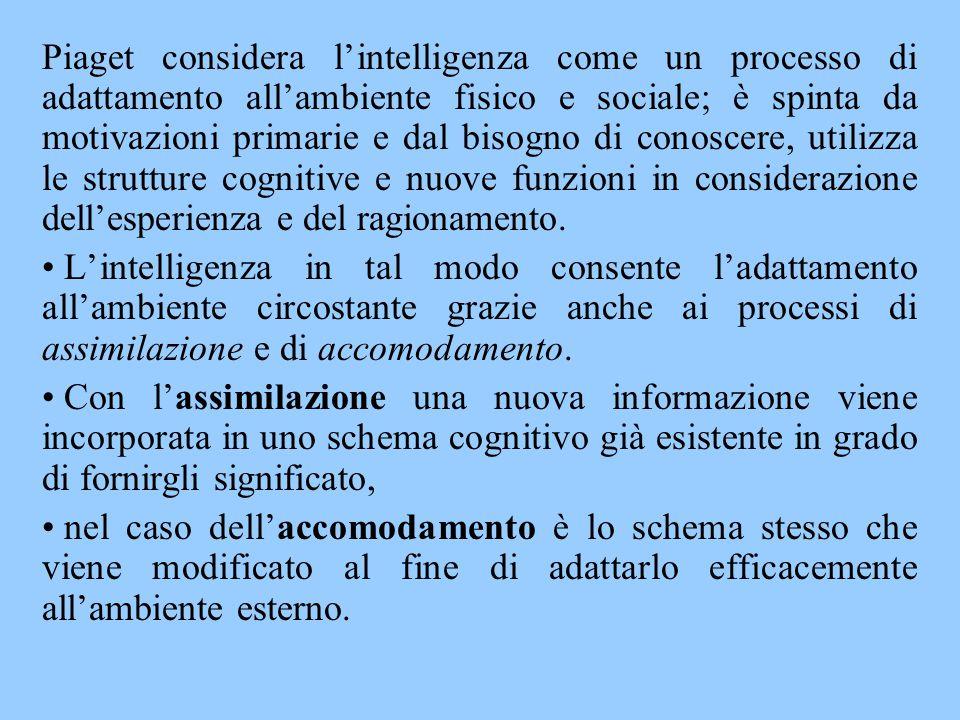 Piaget considera l'intelligenza come un processo di adattamento all'ambiente fisico e sociale; è spinta da motivazioni primarie e dal bisogno di conos