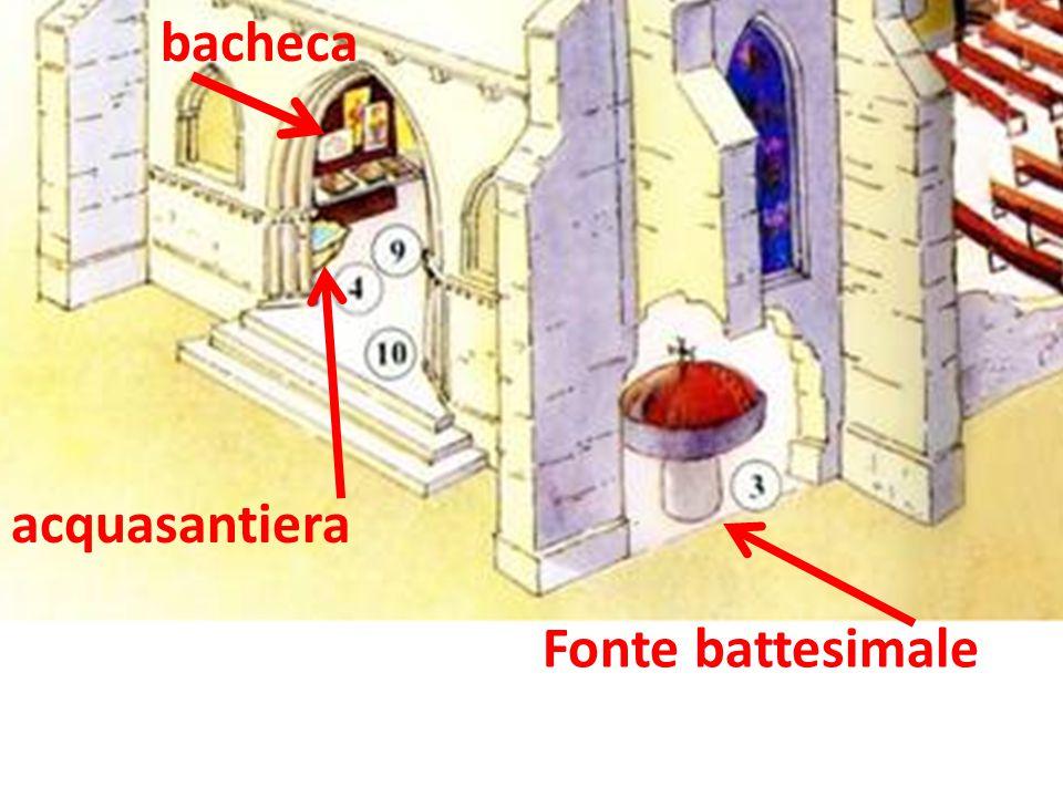 Fonte battesimale acquasantiera bacheca
