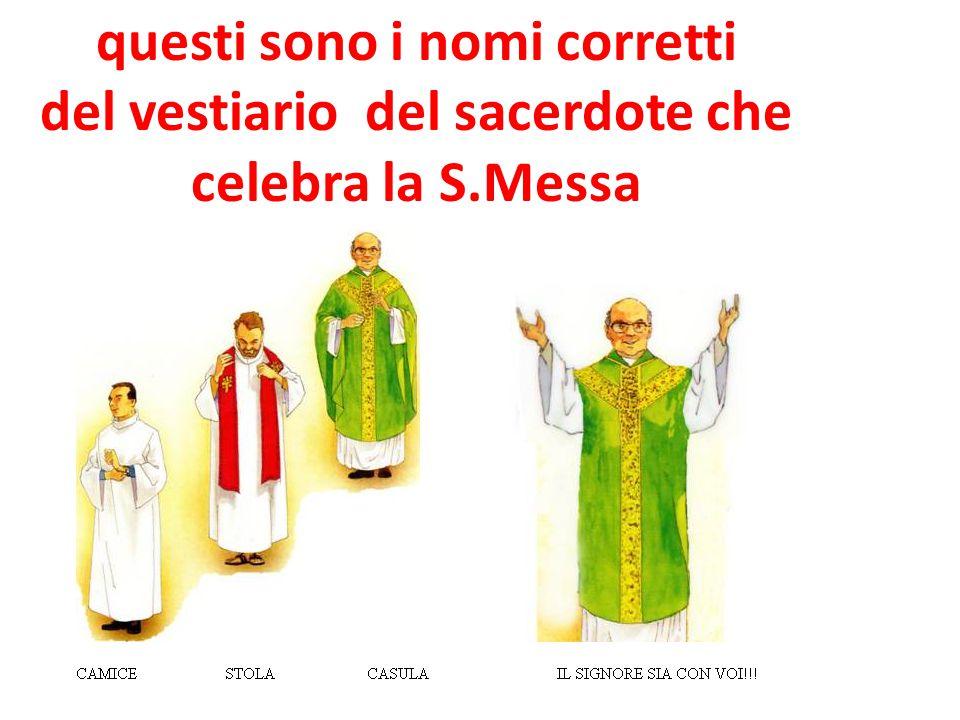 questi sono i nomi corretti del vestiario del sacerdote che celebra la S.Messa