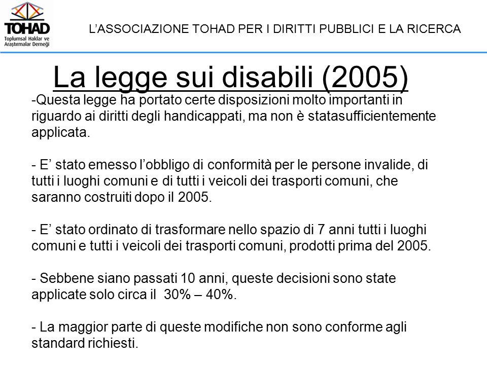 La legge sui disabili (2005) L'ASSOCIAZIONE TOHAD PER I DIRITTI PUBBLICI E LA RICERCA -Questa legge ha portato certe disposizioni molto importanti in riguardo ai diritti degli handicappati, ma non è statasufficientemente applicata.
