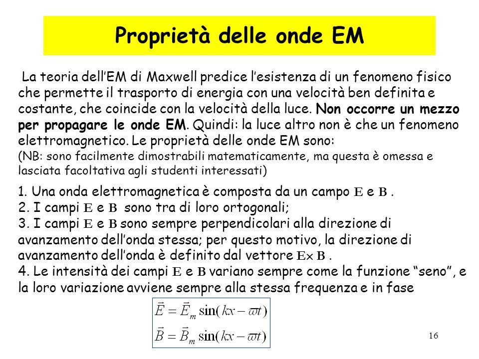 16 La teoria dell'EM di Maxwell predice l'esistenza di un fenomeno fisico che permette il trasporto di energia con una velocità ben definita e costant