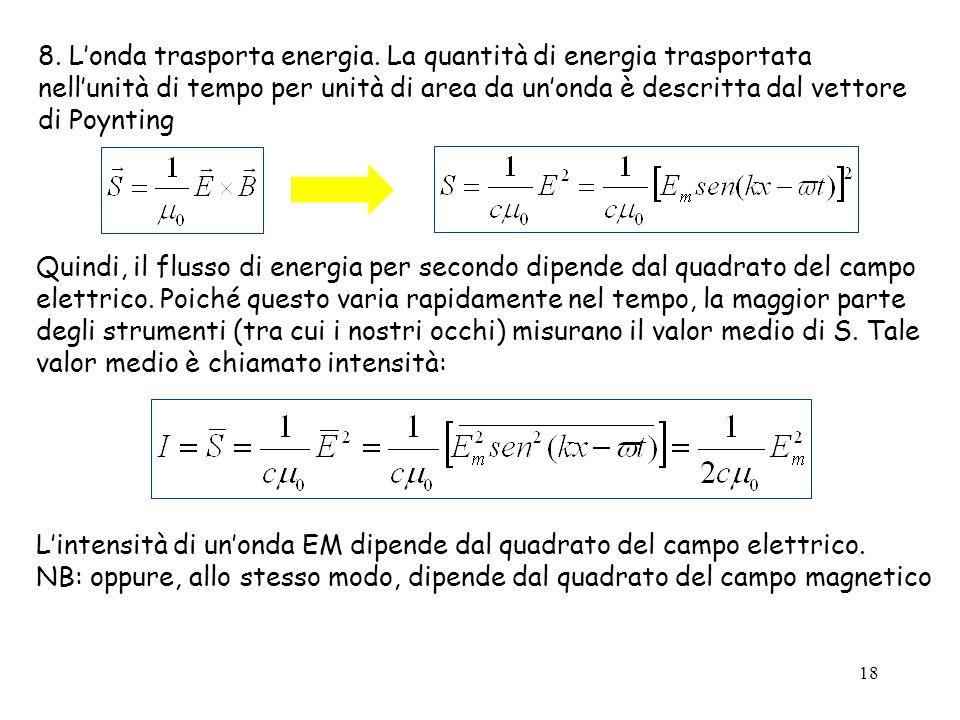 18 8. L'onda trasporta energia. La quantità di energia trasportata nell'unità di tempo per unità di area da un'onda è descritta dal vettore di Poyntin