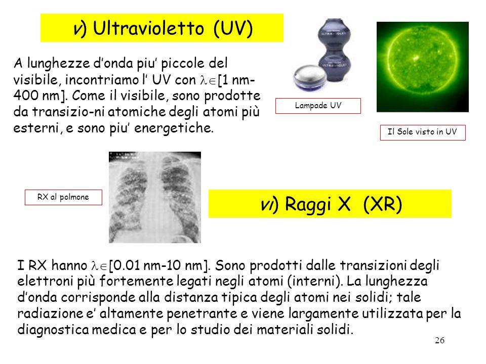 26 v) Ultravioletto (UV) Il Sole visto in UV Lampade UV A lunghezze d'onda piu' piccole del visibile, incontriamo l' UV con [1 nm- 400 nm]. Come il v