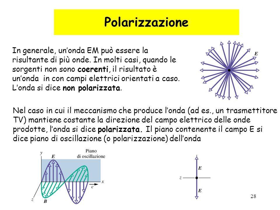 28 Polarizzazione In generale, un'onda EM può essere la risultante di più onde. In molti casi, quando le sorgenti non sono coerenti, il risultato è un