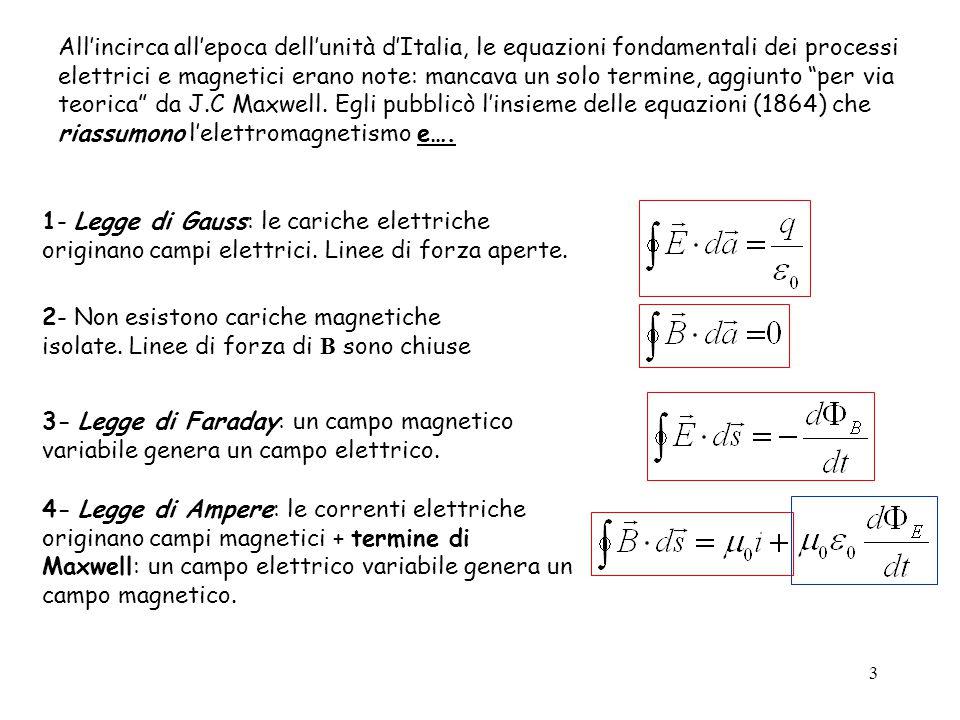 3 1- Legge di Gauss: le cariche elettriche originano campi elettrici. Linee di forza aperte. 2- Non esistono cariche magnetiche isolate. Linee di forz