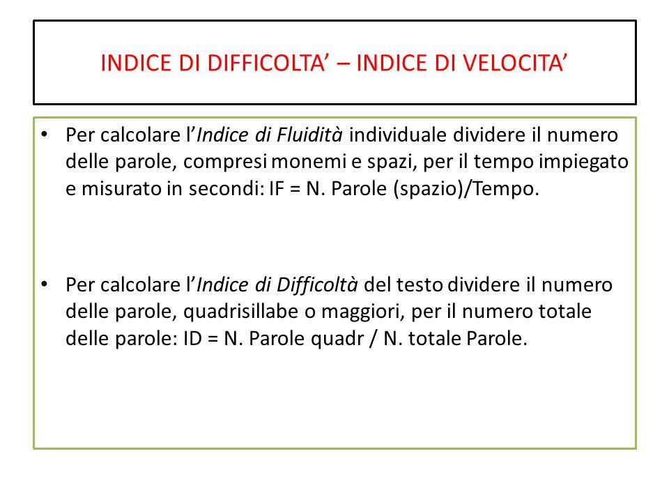 INDICE DI DIFFICOLTA' – INDICE DI VELOCITA' Per calcolare l'Indice di Fluidità individuale dividere il numero delle parole, compresi monemi e spazi, per il tempo impiegato e misurato in secondi: IF = N.