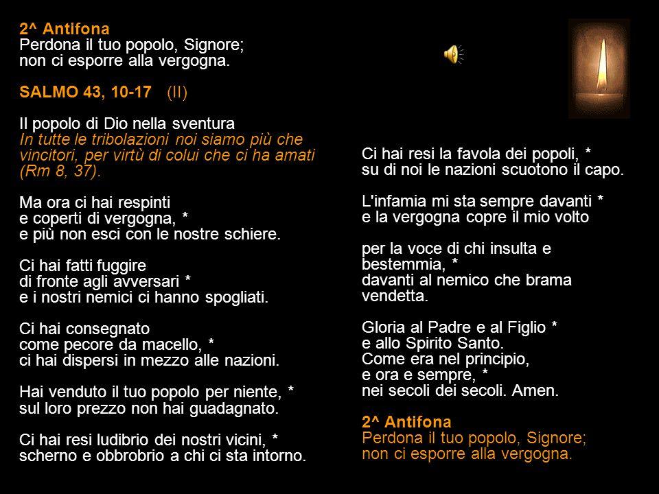 1^ Antifona Tu ci salvi, Signore: celebriamo il tuo nome per sempre, alleluia.