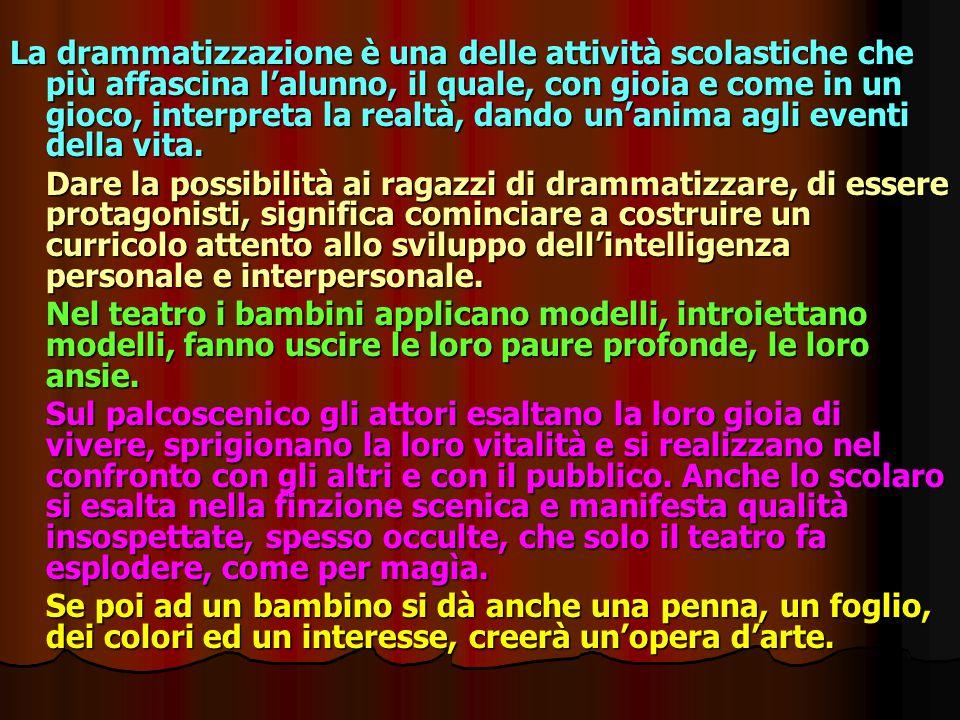 La drammatizzazione è una delle attività scolastiche che più affascina l'alunno, il quale, con gioia e come in un gioco, interpreta la realtà, dando u
