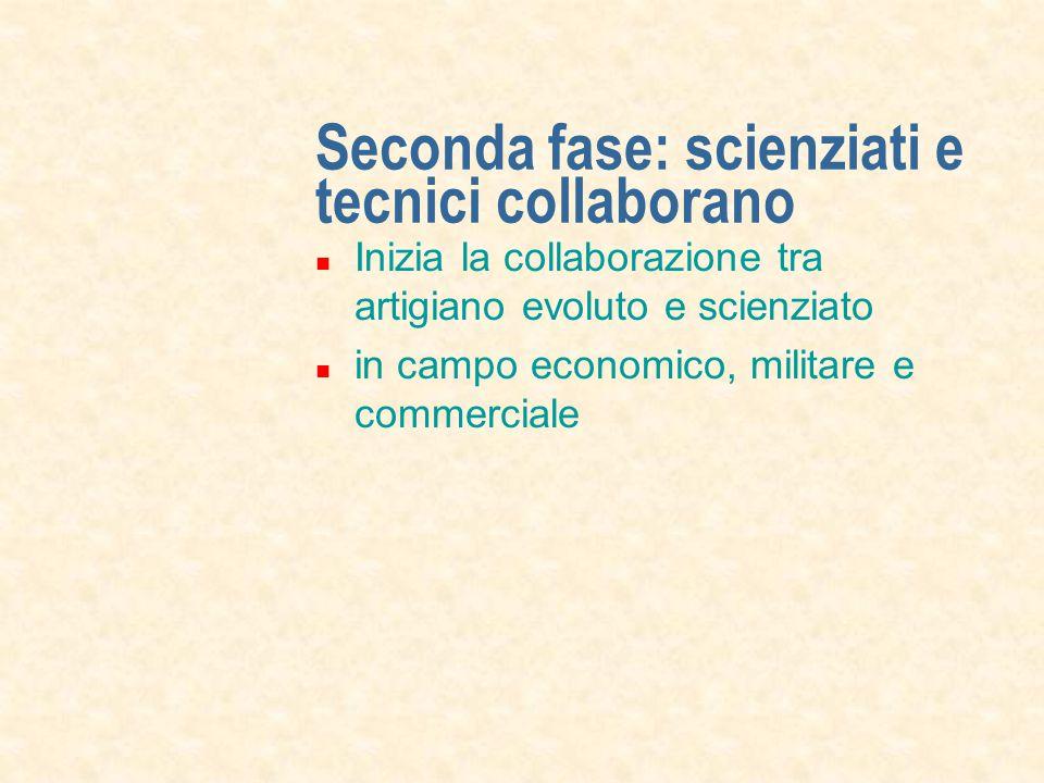 Seconda fase: scienziati e tecnici collaborano Inizia la collaborazione tra artigiano evoluto e scienziato in campo economico, militare e commerciale