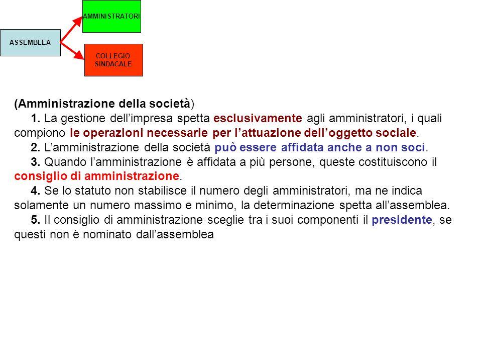 AMMINISTRATORI COLLEGIO SINDACALE ASSEMBLEA (Amministrazione della società) 1. La gestione dell'impresa spetta esclusivamente agli amministratori, i q
