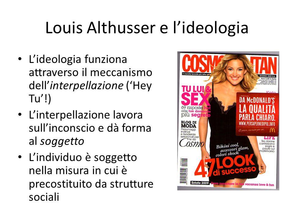 Louis Althusser e l'ideologia L'ideologia funziona attraverso il meccanismo dell'interpellazione ('Hey Tu'!) L'interpellazione lavora sull'inconscio e dà forma al soggetto L'individuo è soggetto nella misura in cui è precostituito da strutture sociali