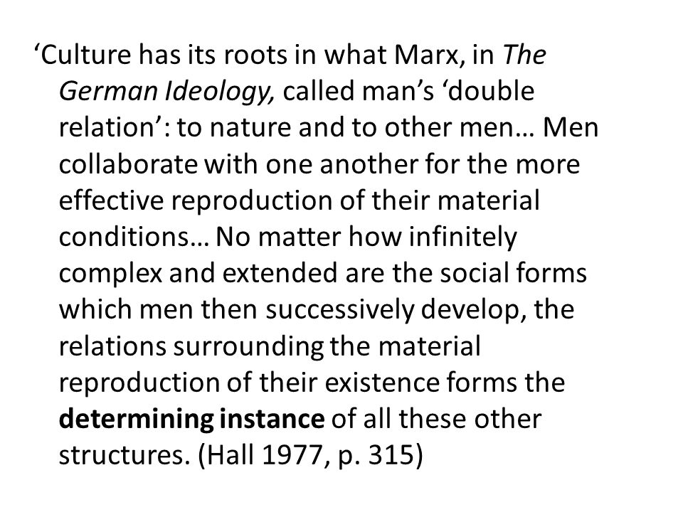 This is the basis for a materialist understanding of social development and human history: it must also be the basis of any materialist or non-idealist definition of culture..