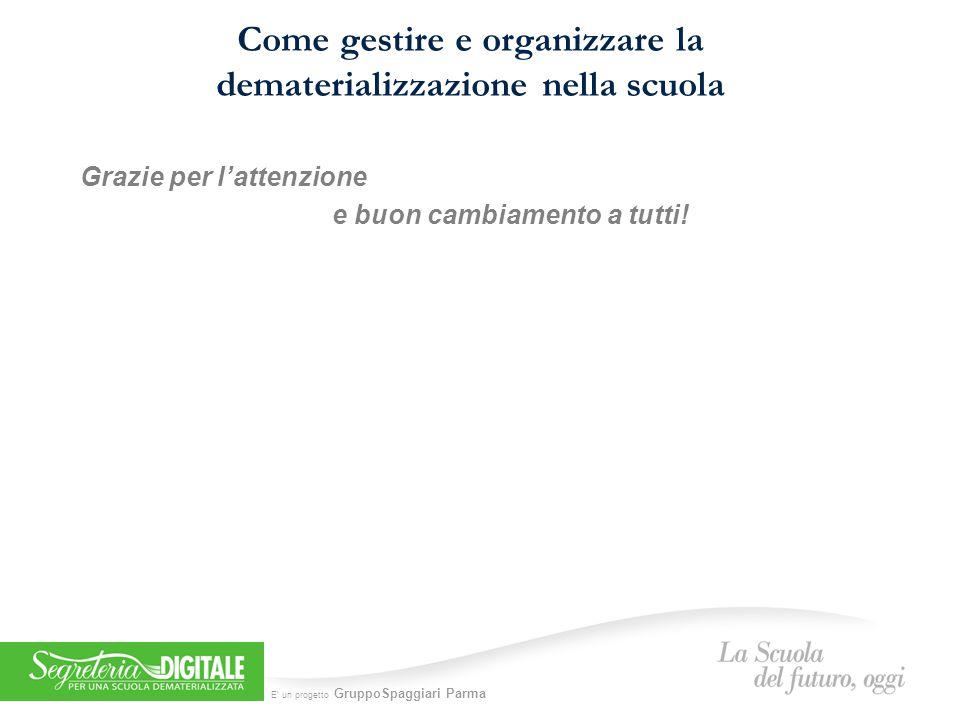E' un progetto GruppoSpaggiari Parma Come gestire e organizzare la dematerializzazione nella scuola Grazie per l'attenzione e buon cambiamento a tutti!