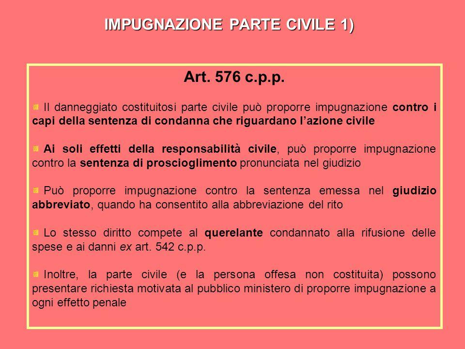 IMPUGNAZIONE PARTE CIVILE 1) Art.576 c.p.p.