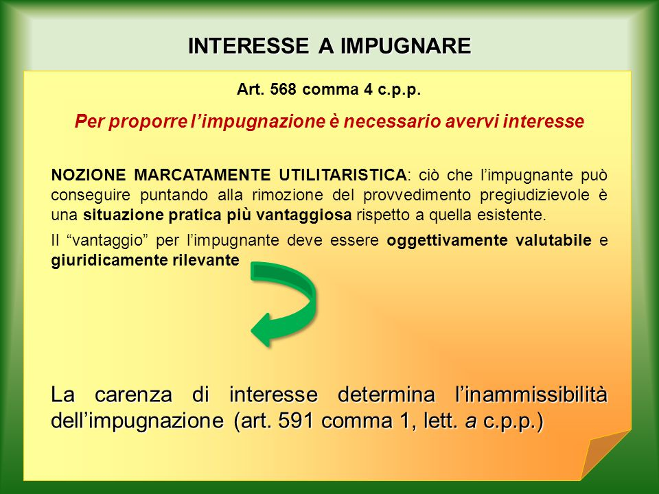INTERESSE A IMPUGNARE Art. 568 comma 4 c.p.p.