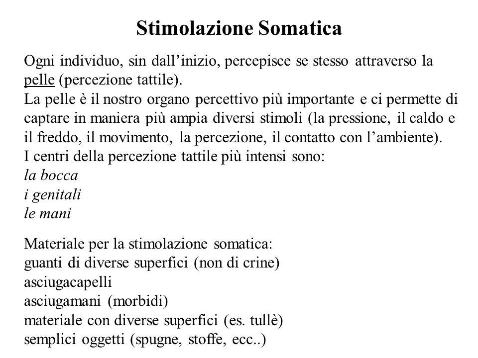 Stimolazione Somatica Ogni individuo, sin dall'inizio, percepisce se stesso attraverso la pelle (percezione tattile).