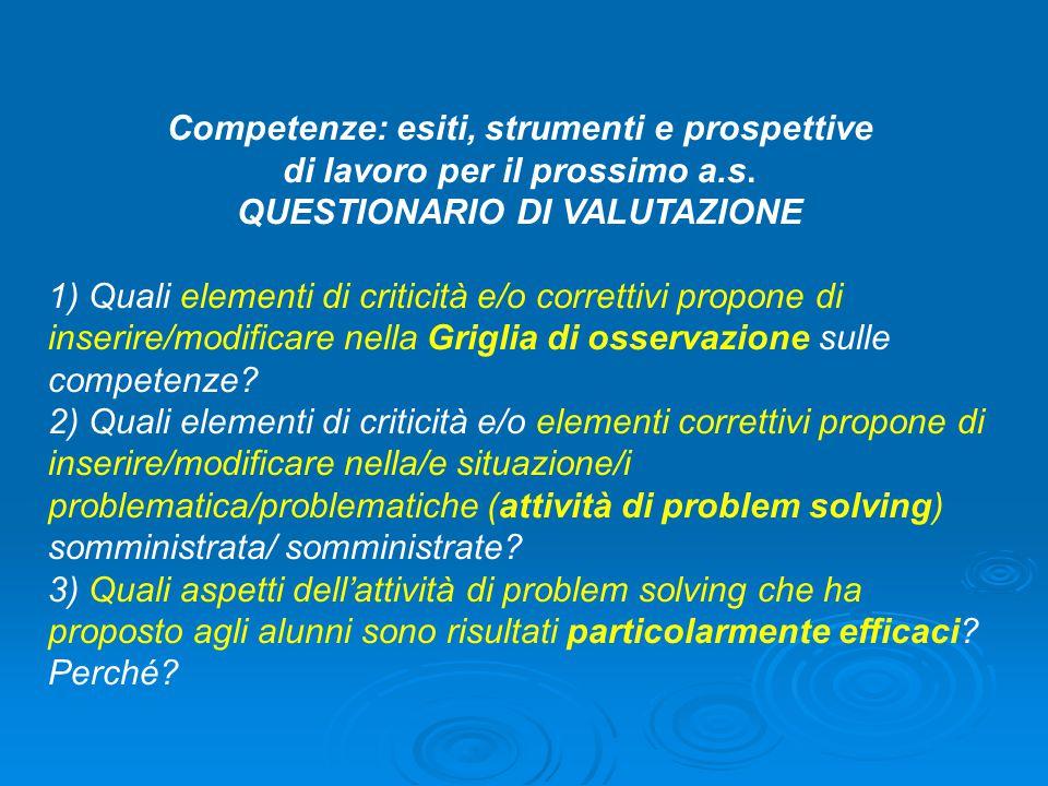 Competenze: esiti, strumenti e prospettive di lavoro per il prossimo a.s.