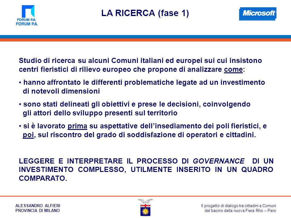 LA RICERCA (fase 1) Studio di ricerca su alcuni Comuni italiani ed europei sui cui insistono centri fieristici di rilievo europeo che propone di anali