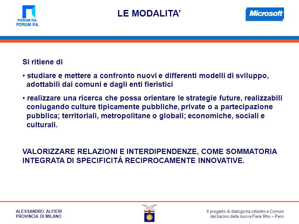 LE MODALITA' Si ritiene di studiare e mettere a confronto nuovi e differenti modelli di sviluppo, adottabili dai comuni e dagli enti fieristici realiz