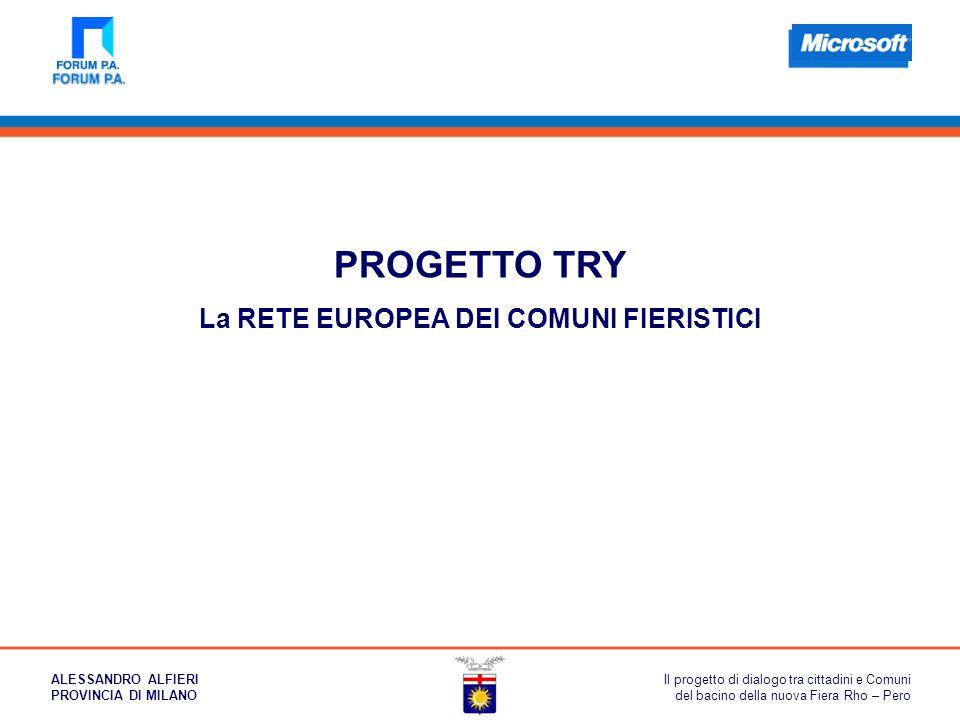 PROGETTO TRY La RETE EUROPEA DEI COMUNI FIERISTICI Il progetto di dialogo tra cittadini e Comuni del bacino della nuova Fiera Rho – Pero ALESSANDRO AL