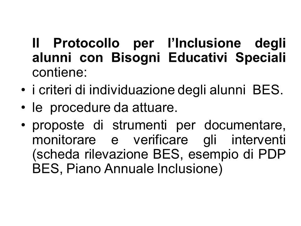 Il Protocollo per l'Inclusione degli alunni con Bisogni Educativi Speciali contiene: i criteri di individuazione degli alunni BES. le procedure da att