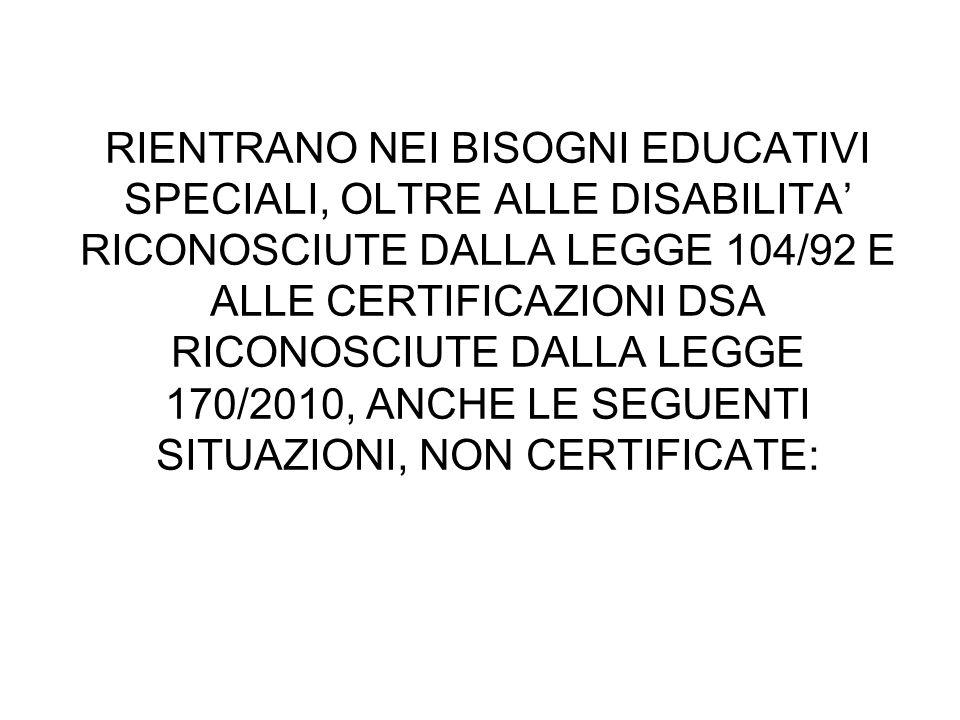 RIENTRANO NEI BISOGNI EDUCATIVI SPECIALI, OLTRE ALLE DISABILITA' RICONOSCIUTE DALLA LEGGE 104/92 E ALLE CERTIFICAZIONI DSA RICONOSCIUTE DALLA LEGGE 17