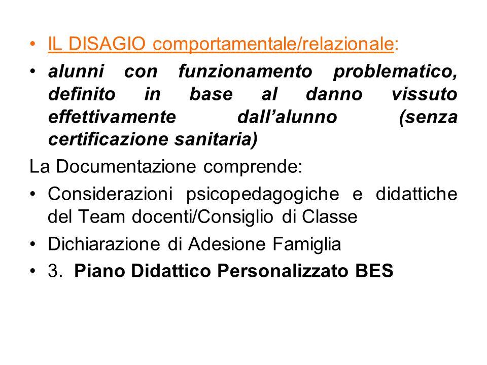 IL DISAGIO comportamentale/relazionale: alunni con funzionamento problematico, definito in base al danno vissuto effettivamente dall'alunno (senza cer