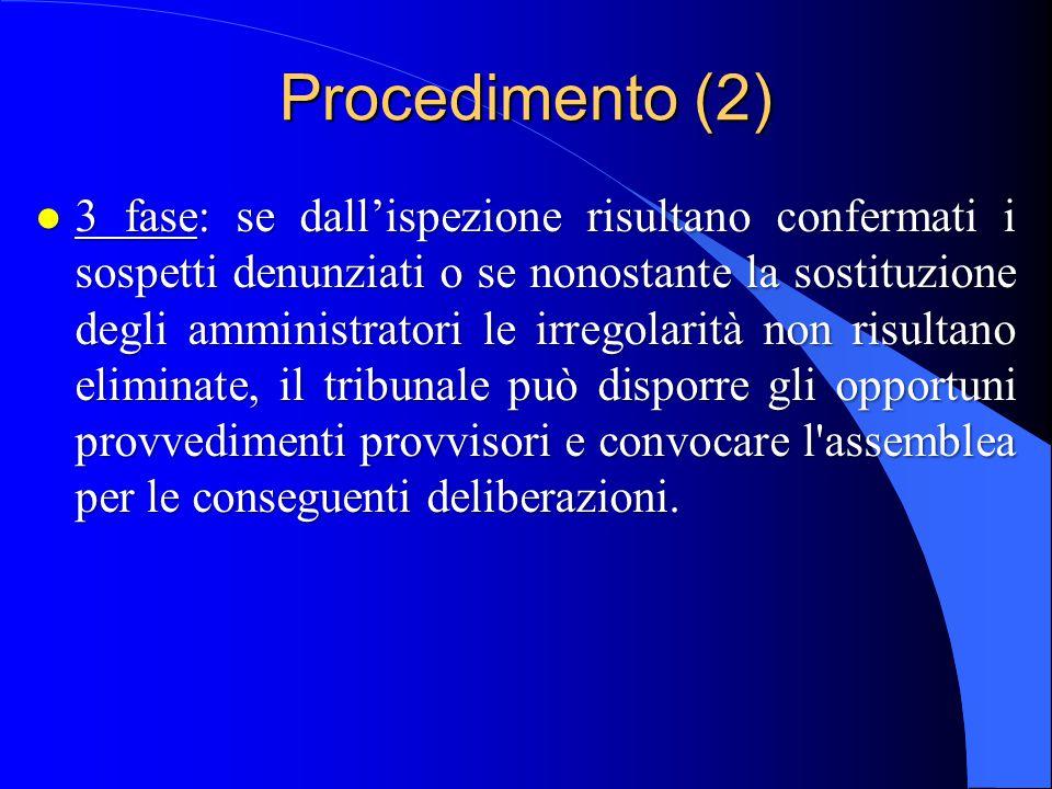 Procedimento (2) l 3 fase: se dall'ispezione risultano confermati i sospetti denunziati o se nonostante la sostituzione degli amministratori le irrego