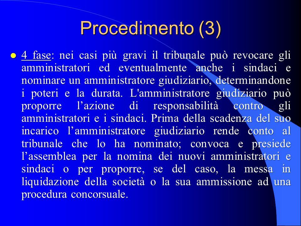 Procedimento (3) l 4 fase: nei casi più gravi il tribunale può revocare gli amministratori ed eventualmente anche i sindaci e nominare un amministratore giudiziario, determinandone i poteri e la durata.