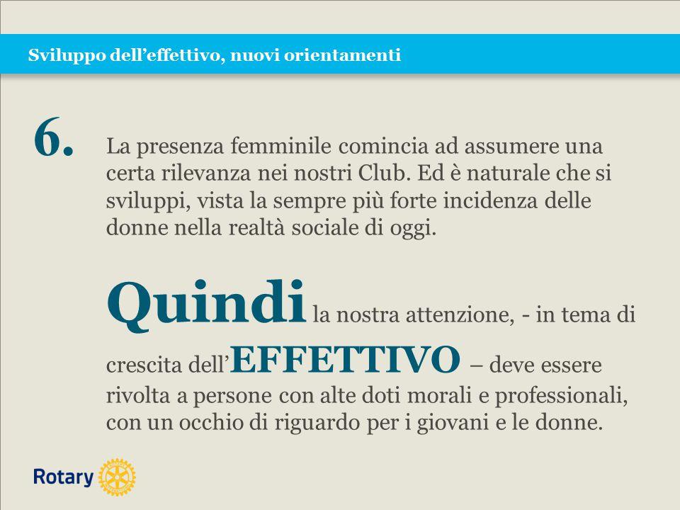 Sviluppo dell'effettivo, nuovi orientamenti La presenza femminile comincia ad assumere una certa rilevanza nei nostri Club.