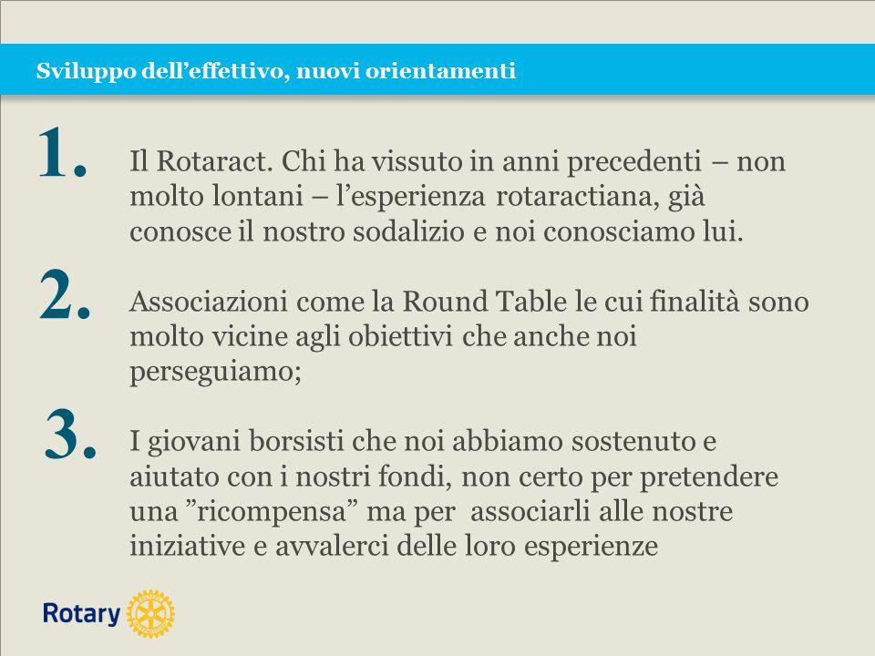 Sviluppo dell'effettivo, nuovi orientamenti Il Rotaract. Chi ha vissuto in anni precedenti – non molto lontani – l'esperienza rotaractiana, già conosc