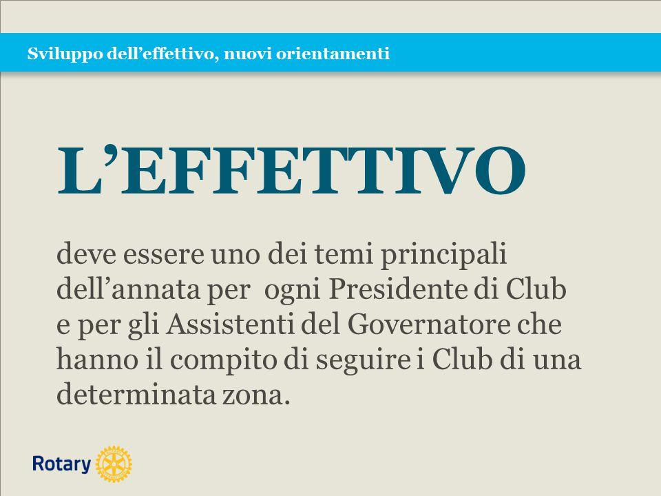 Sviluppo dell'effettivo, nuovi orientamenti L'EFFETTIVO deve essere uno dei temi principali dell'annata per ogni Presidente di Club e per gli Assistenti del Governatore che hanno il compito di seguire i Club di una determinata zona.
