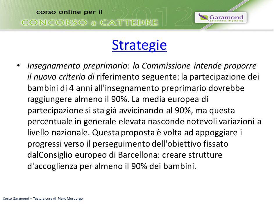 Strategie Insegnamento preprimario: la Commissione intende proporre il nuovo criterio di riferimento seguente: la partecipazione dei bambini di 4 anni