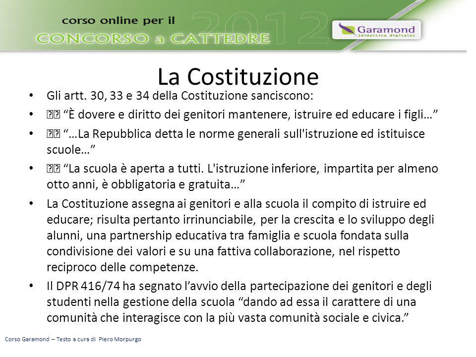 La Costituzione Gli artt.