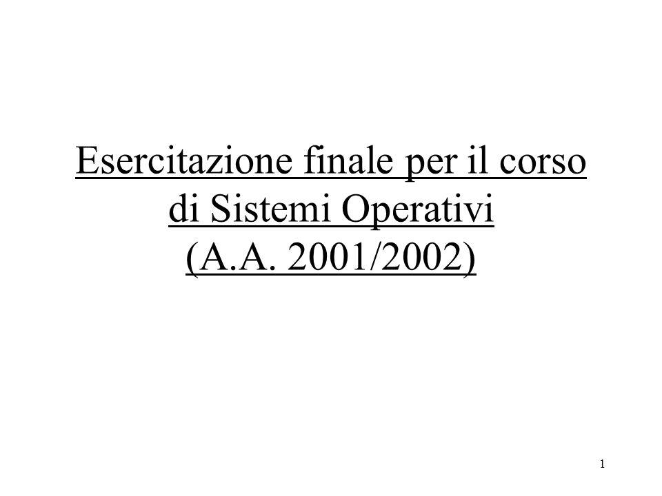 1 Esercitazione finale per il corso di Sistemi Operativi (A.A. 2001/2002)