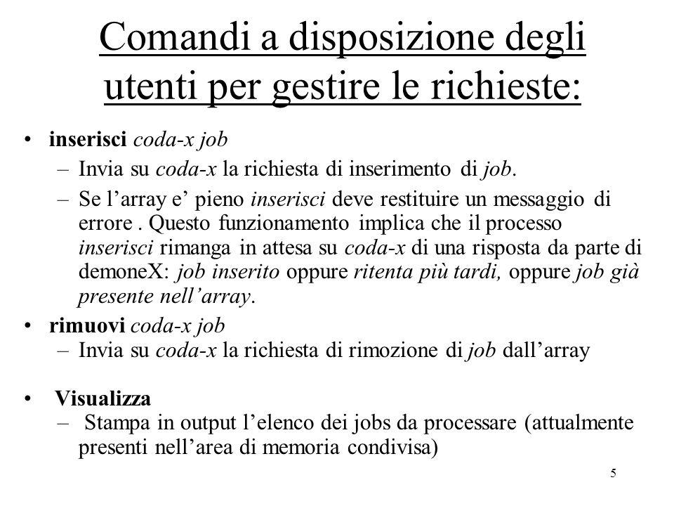5 Comandi a disposizione degli utenti per gestire le richieste: inserisci coda-x job –Invia su coda-x la richiesta di inserimento di job.