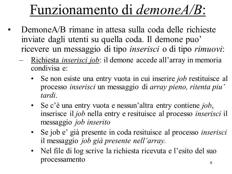 6 Funzionamento di demoneA/B: DemoneA/B rimane in attesa sulla coda delle richieste inviate dagli utenti su quella coda.