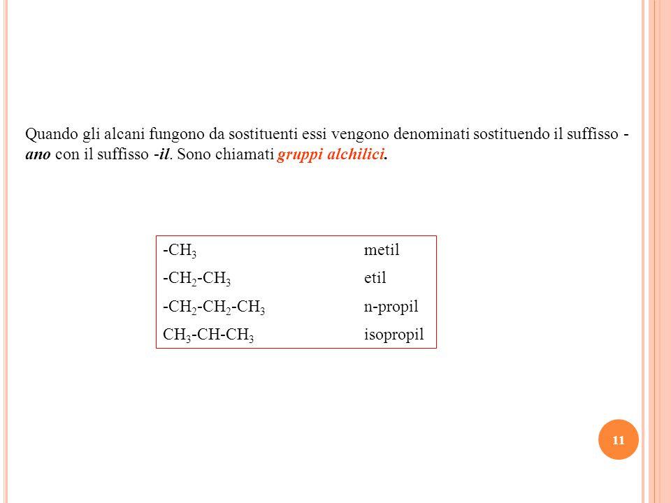 11 Quando gli alcani fungono da sostituenti essi vengono denominati sostituendo il suffisso - ano con il suffisso -il.