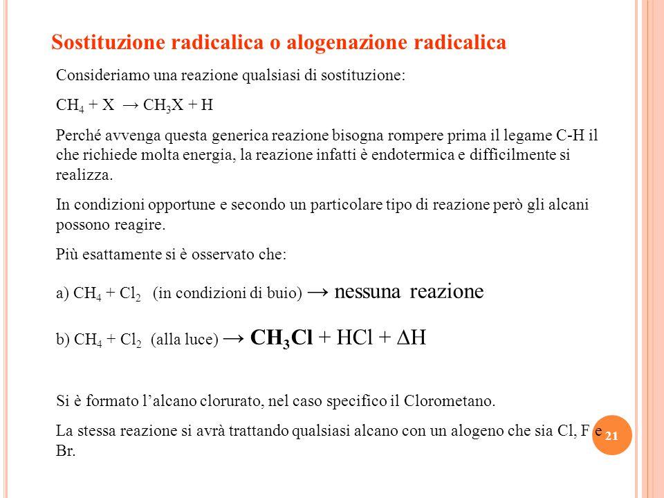 21 Sostituzione radicalica o alogenazione radicalica Consideriamo una reazione qualsiasi di sostituzione: CH 4 + X → CH 3 X + H Perché avvenga questa generica reazione bisogna rompere prima il legame C-H il che richiede molta energia, la reazione infatti è endotermica e difficilmente si realizza.